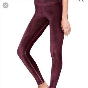 NWT VS Pink velvet flat leggings, size L